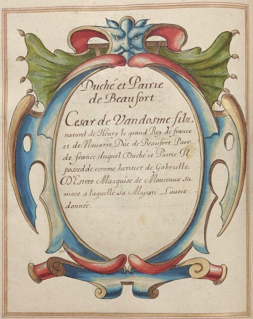 BnF, Ms Fr 2768, fol. 89v. Duché et Pairie de Beaufort
