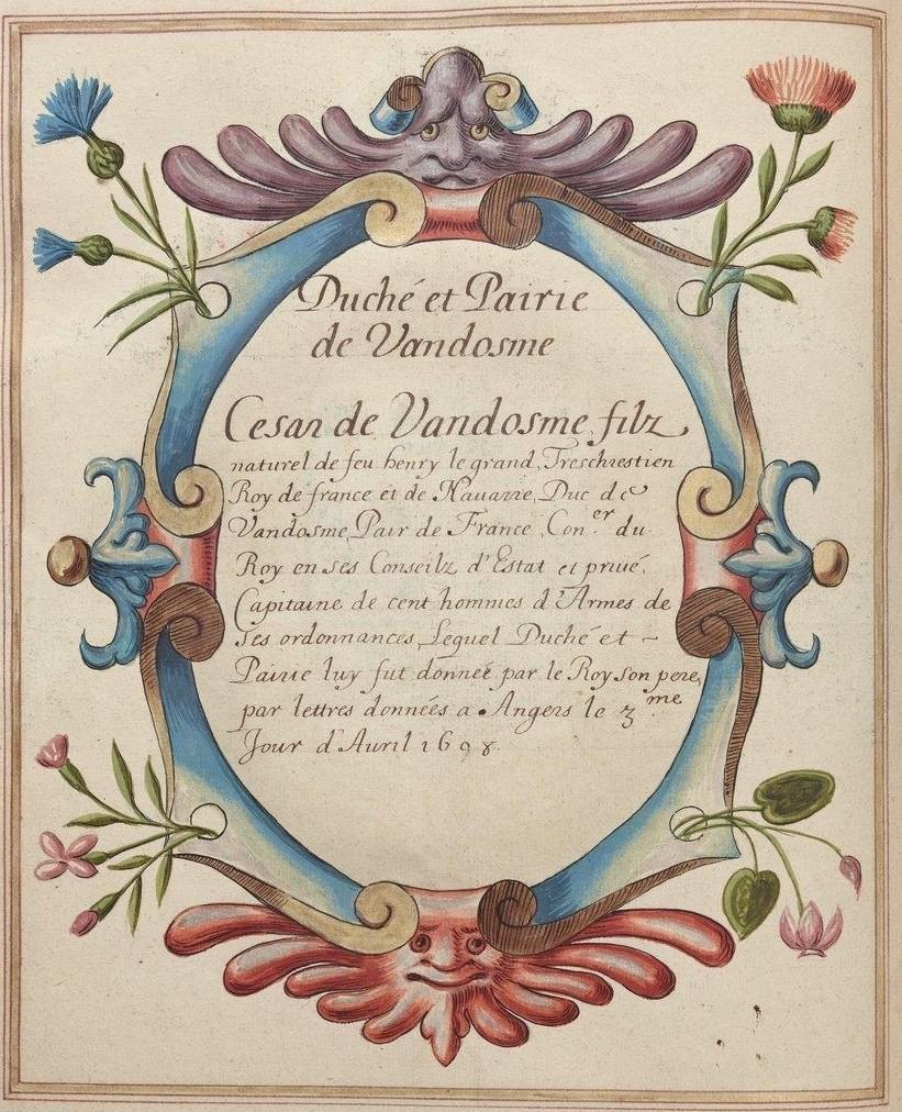 BnF, Ms Fr 2768, fol. 87v. Duché et Pairie de Vandosme