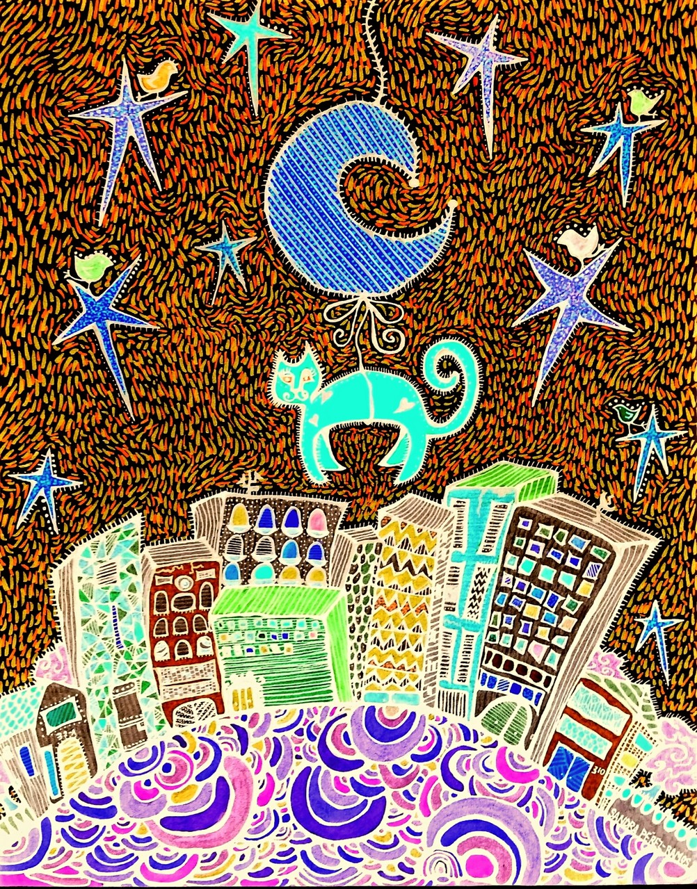 City Cat © 2014 Sandra Pérez Ramos (Mixed media).