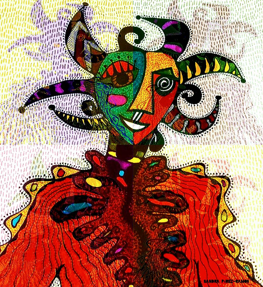 Vejigante A La Bolla. Digital, mixed media. Sandra Pérez-Ramos.