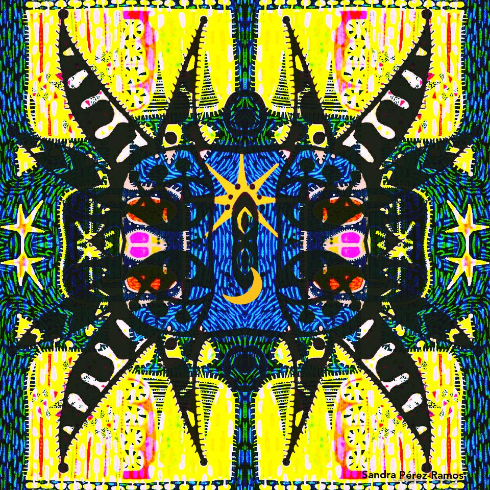 Máscara Del Sol. Digital, mixed media. Sandra Pérez-Ramos.
