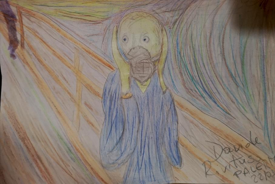 L'urlo di Munch con mascherina, disegno by Davide Rivituso