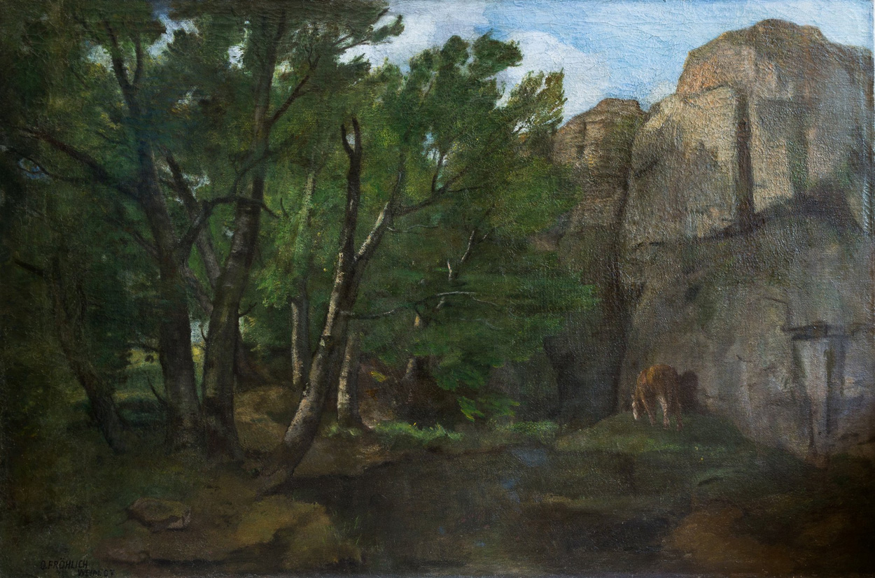Otto Fröhlich, Waldlandschaft mit großen Felsen