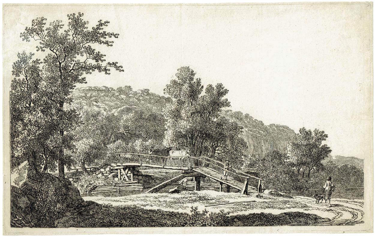 Johann Christian Klengel, Flusslandschaft mit Holzbrücke bei Hainsbach im Plauenschen Grund
