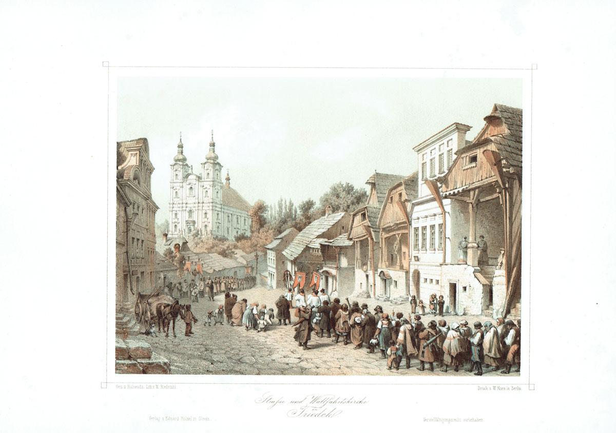 Straße und Wallfahrtskirche in Friedek, Böhmen