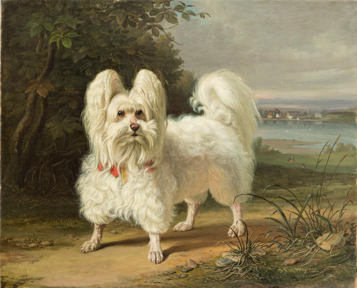 Johann Friedrich Wilhelm Wegener, Hund in Landschaft