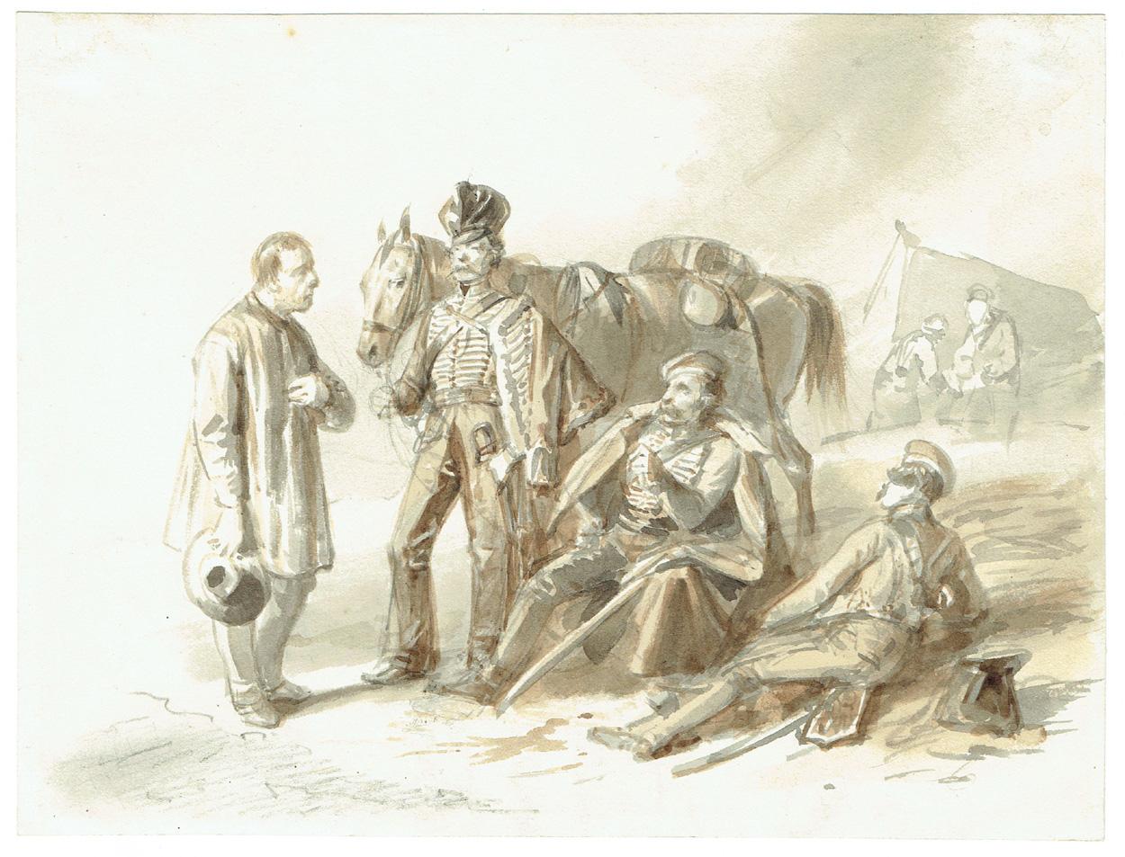 Ferdinand von Rayski, Sächsische Soldaten im Gespräch mit einem Herrn