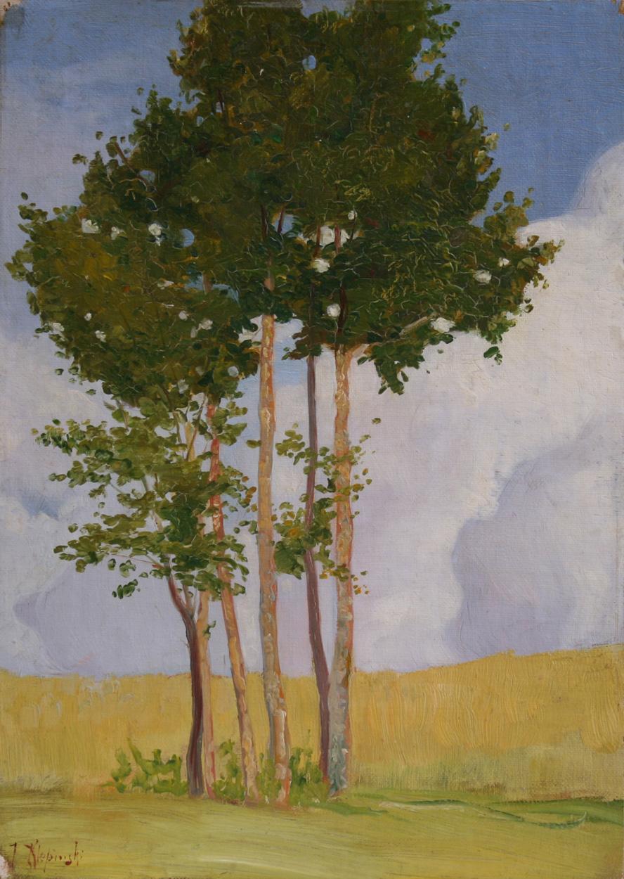 Johann Klepinski, Pappeln vor Getreidefeld