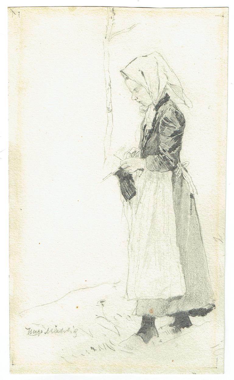 Hugo Mühlig, Strickendes Bauernmädchen