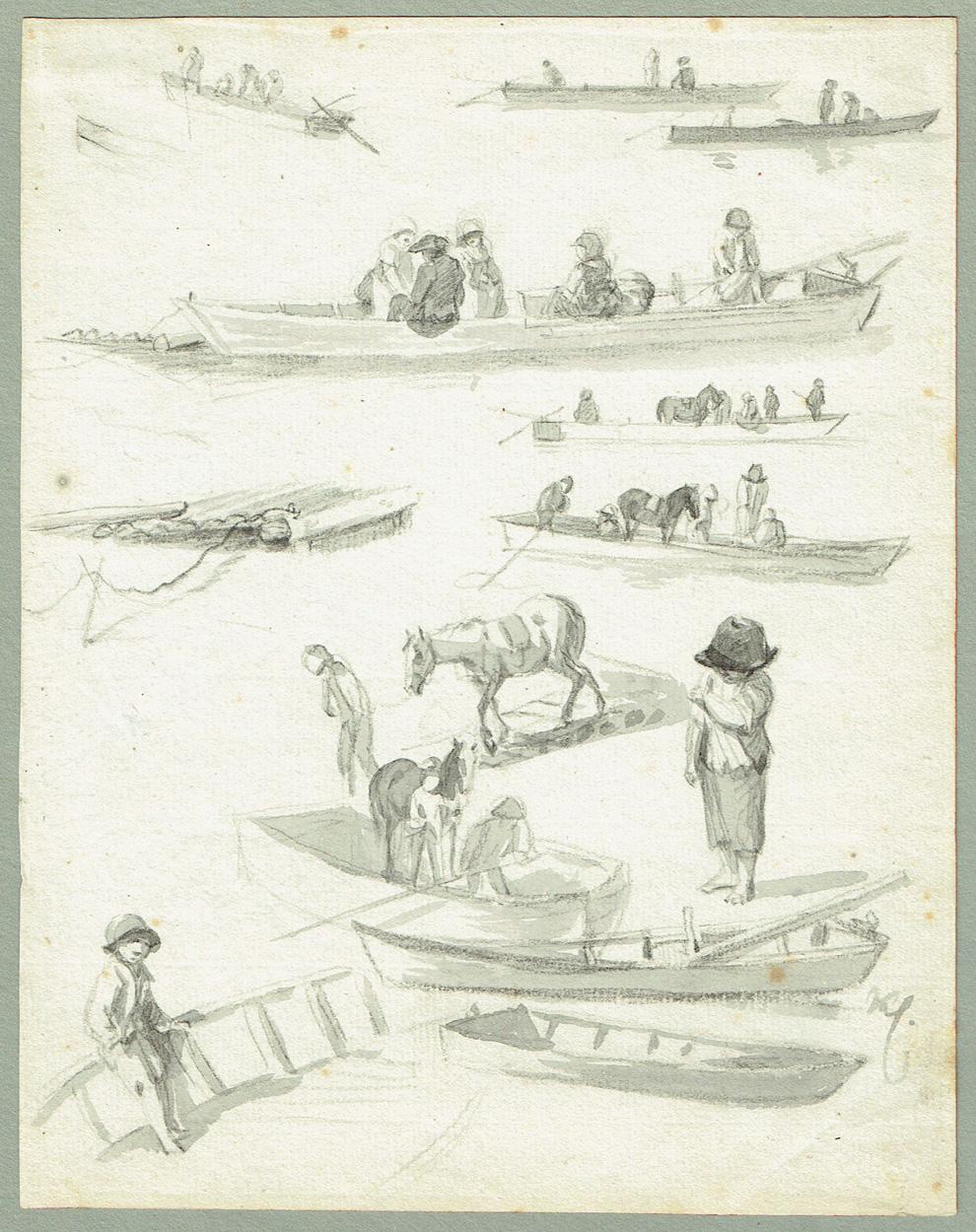 Johann Christian Klengel, Studienblatt mit Booten und Figuren