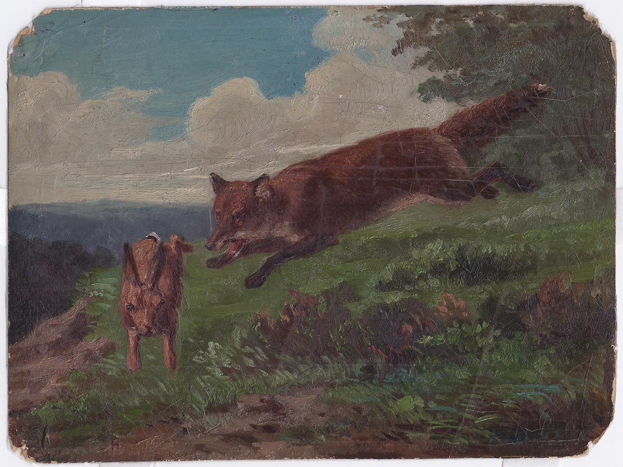 Hugo Mühlig zugeschrieben, Fuchs und Hase