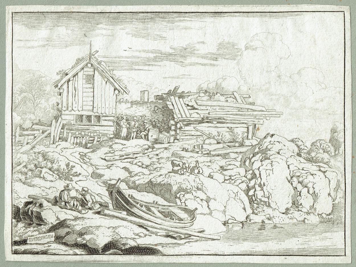 Allaert van Everdingen, Der Kahn am Ufer und drei ruhende Ziegen