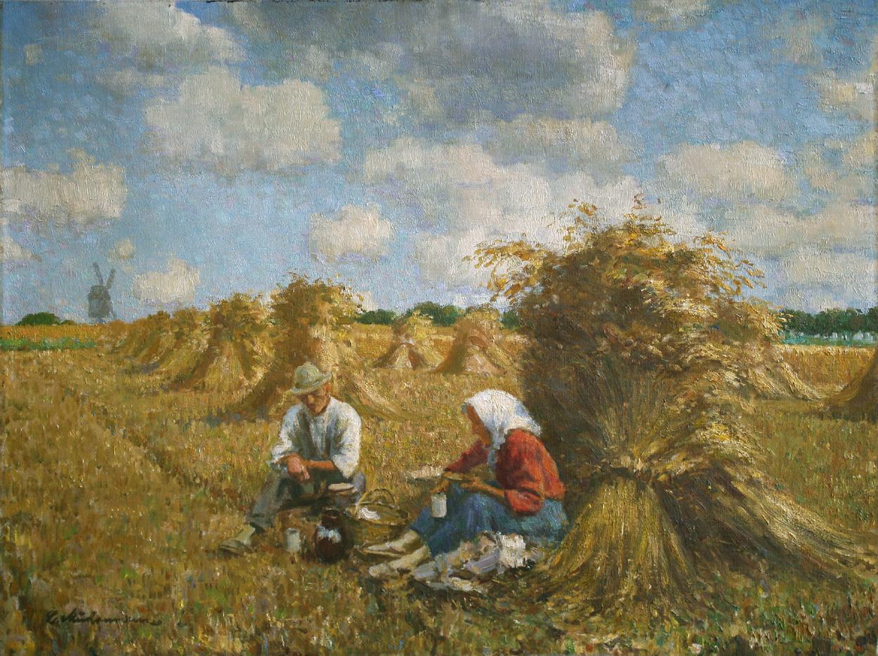 Ludwig Muhrmann, Rastende Bauern auf Getreidefeld mit Korngarben