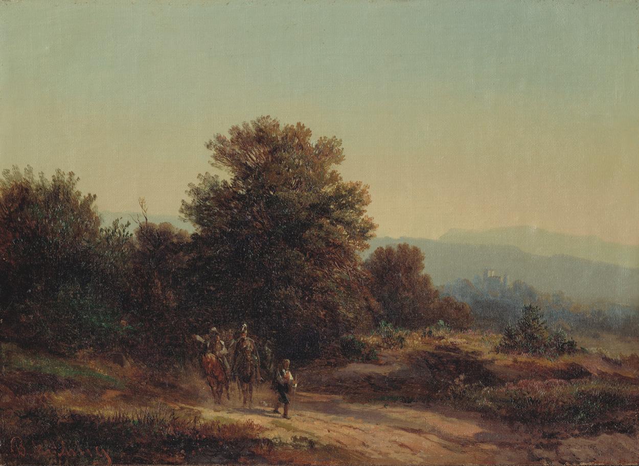 Bernhard Mühlig, Bergige Landschaft mit Soldatenzug