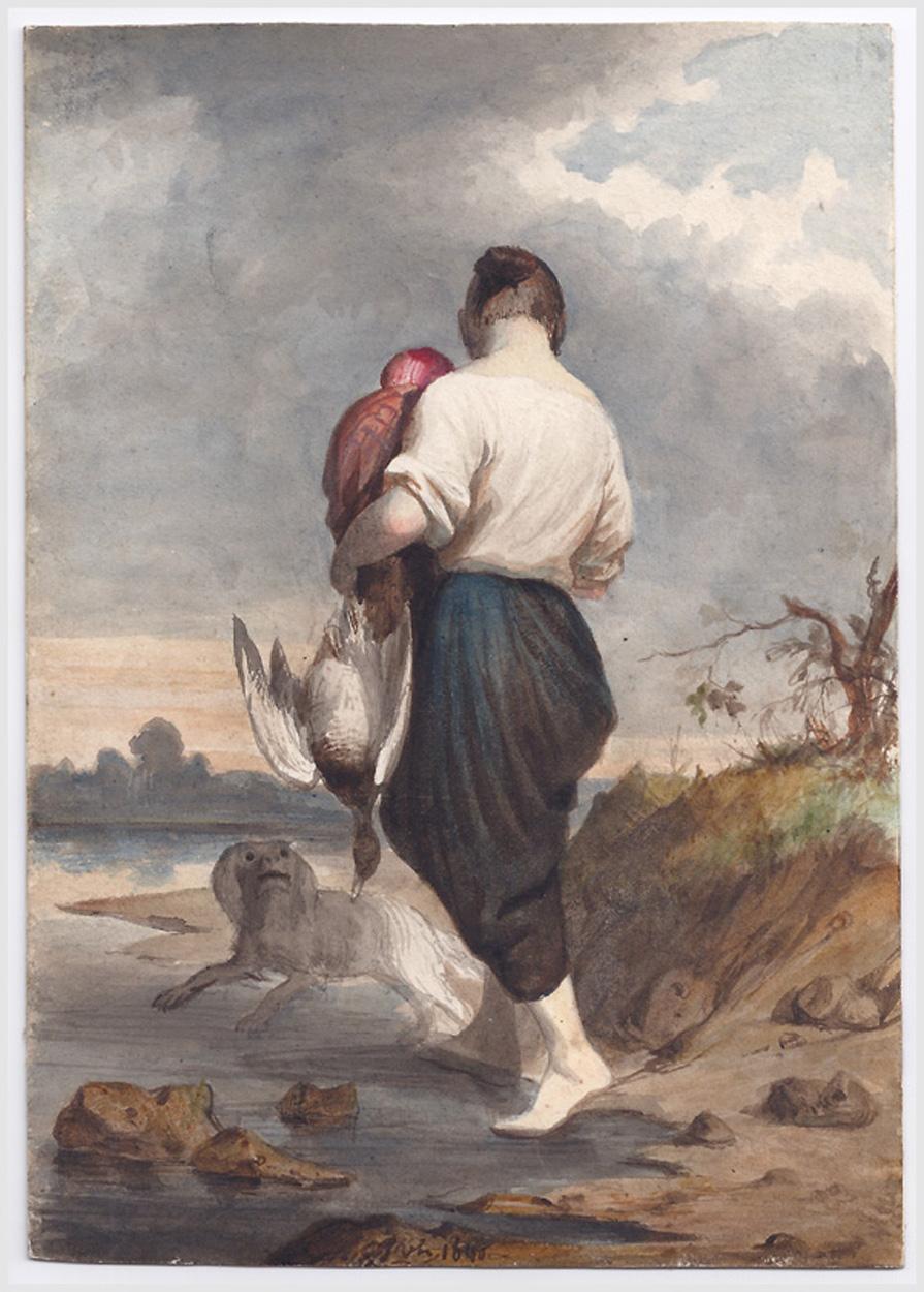 Frau mit Kind vor Flusslandschaft