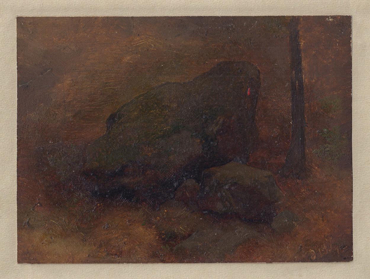 Woldemar Rau, Studie mit Felsen auf Waldboden