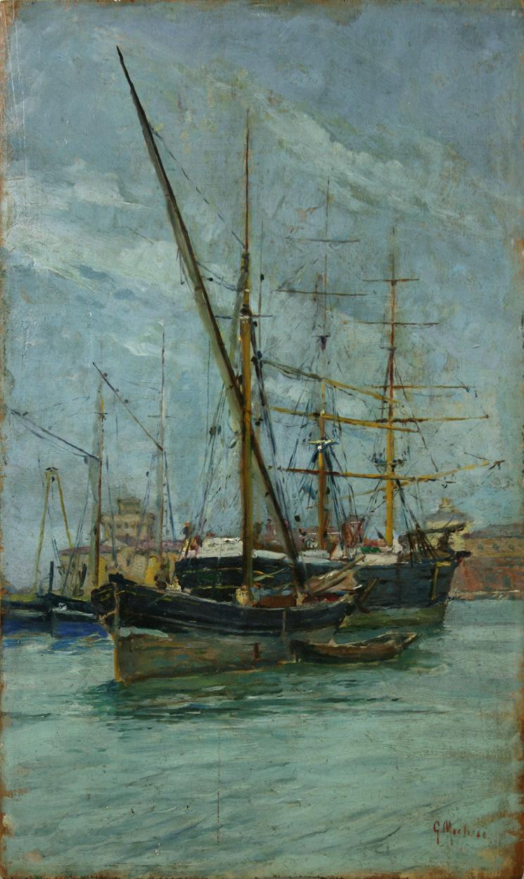 Guglielmo Micheli, Segelboote im Hafen einer italienischen Stadt