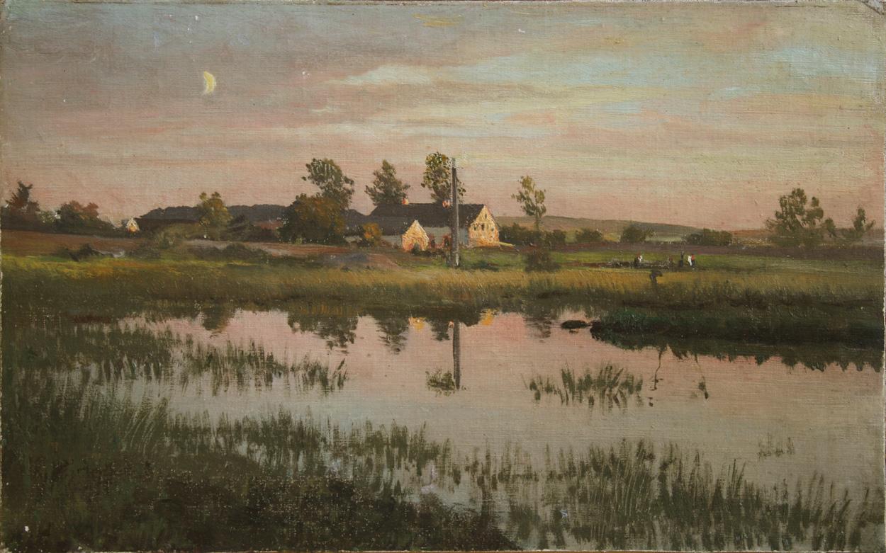 Norddeutsch, um 1900, Sommerlandschaft im Abendlicht