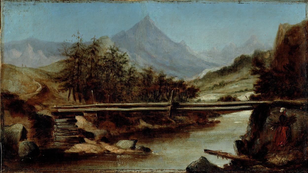 Flusstal mit Holzbrücke und Reisigsammlerin