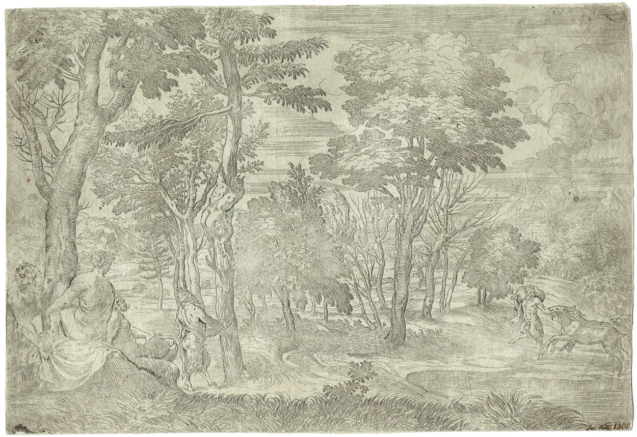 Giovanni Francesco Grimaldi, Waldlandschaft mit Satyrn und Nymphen