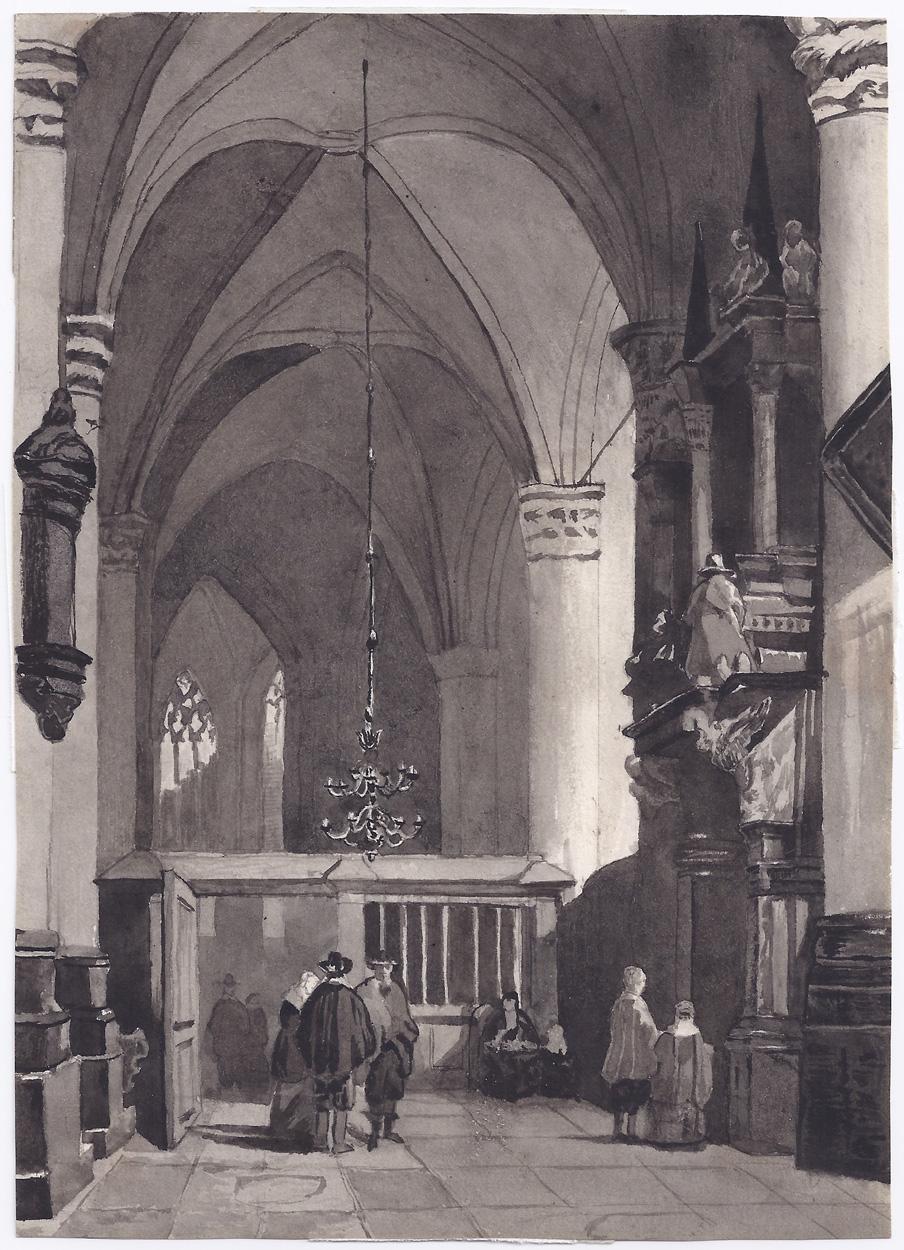 Jean Baptist Tetar van Elven zugeschrieben, Kircheninterieur