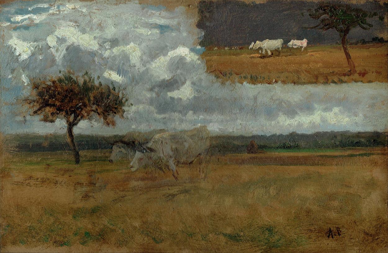 Albert Brendel, Ölstudie mit Rindern