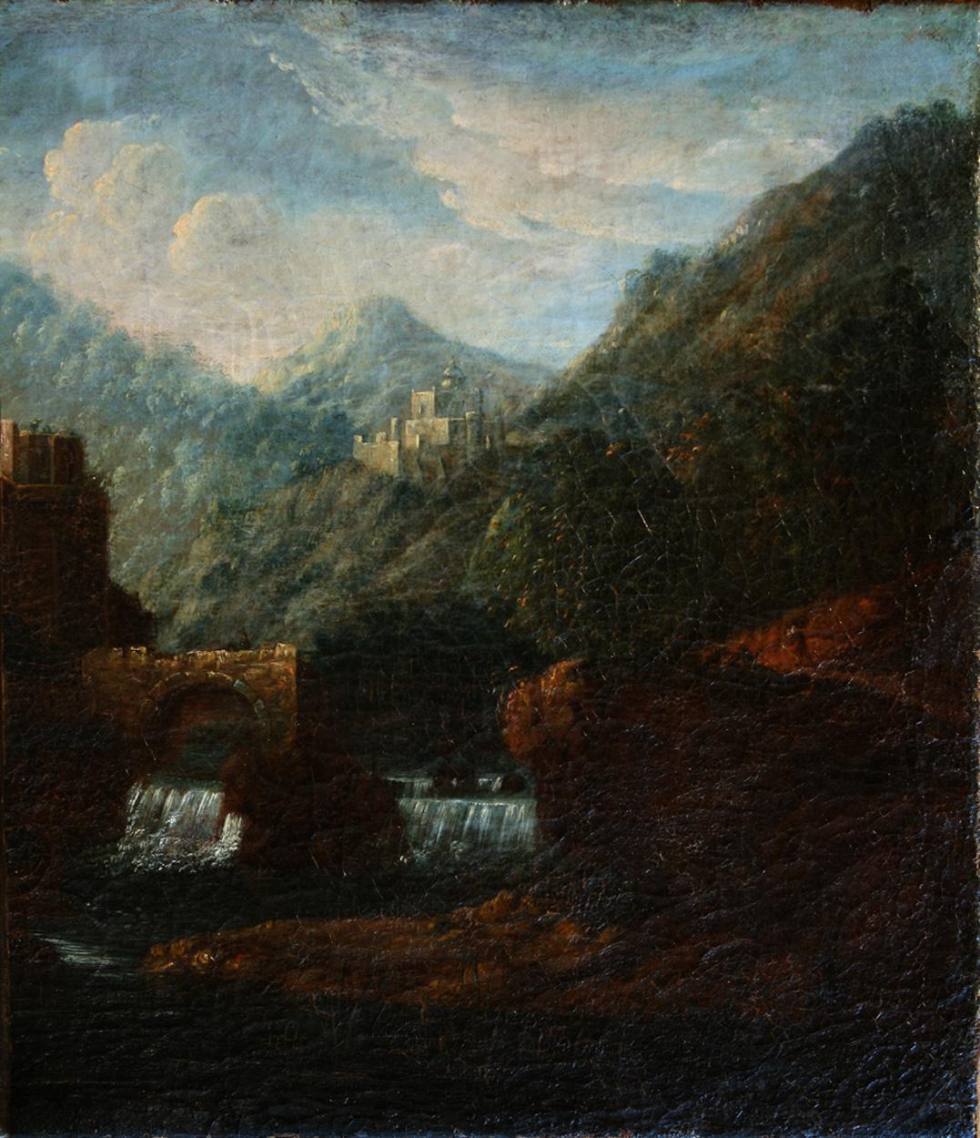 Deutsch, Gebirgslandschaft mit Burg
