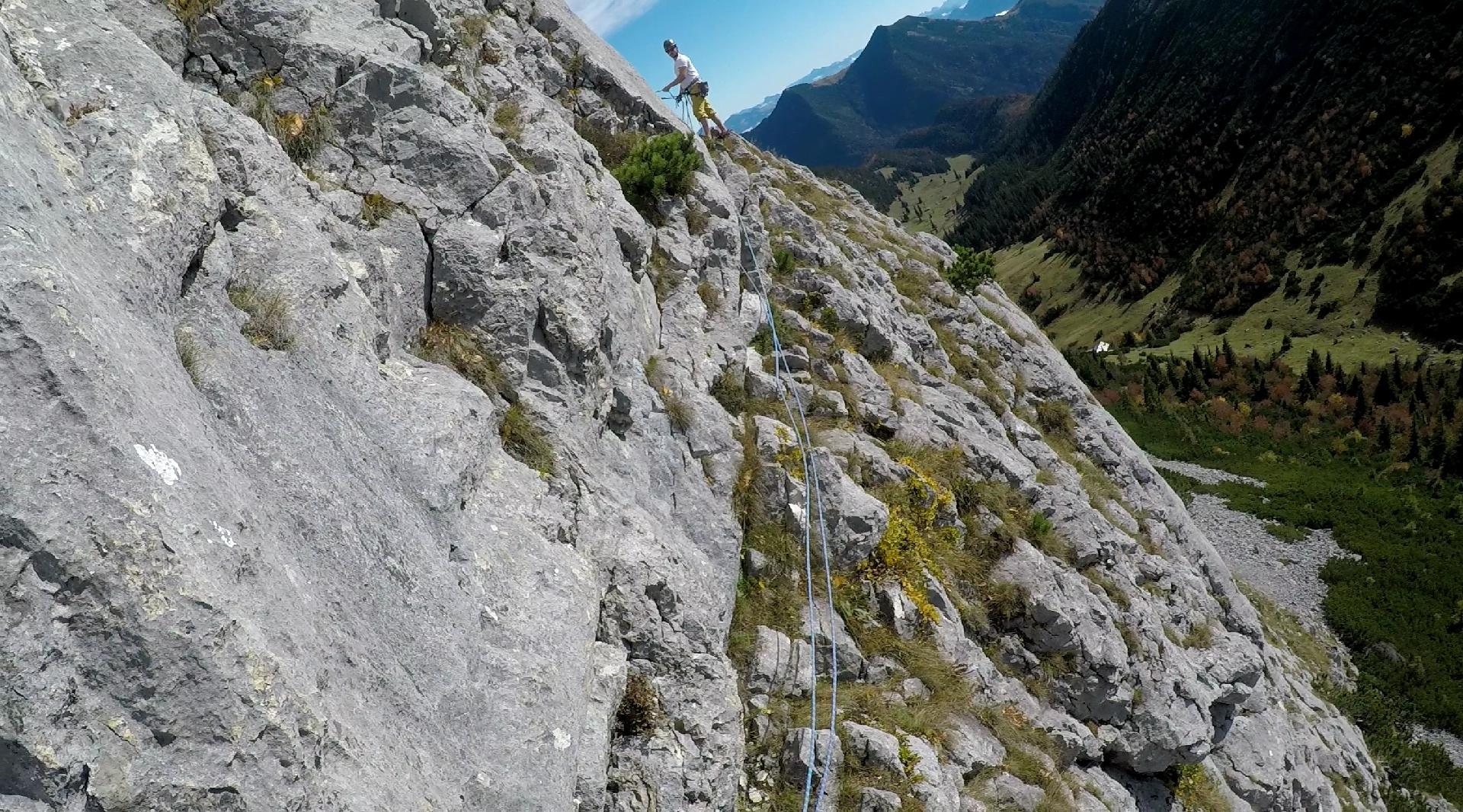 Beim Klettern an den Ruchenköpfen