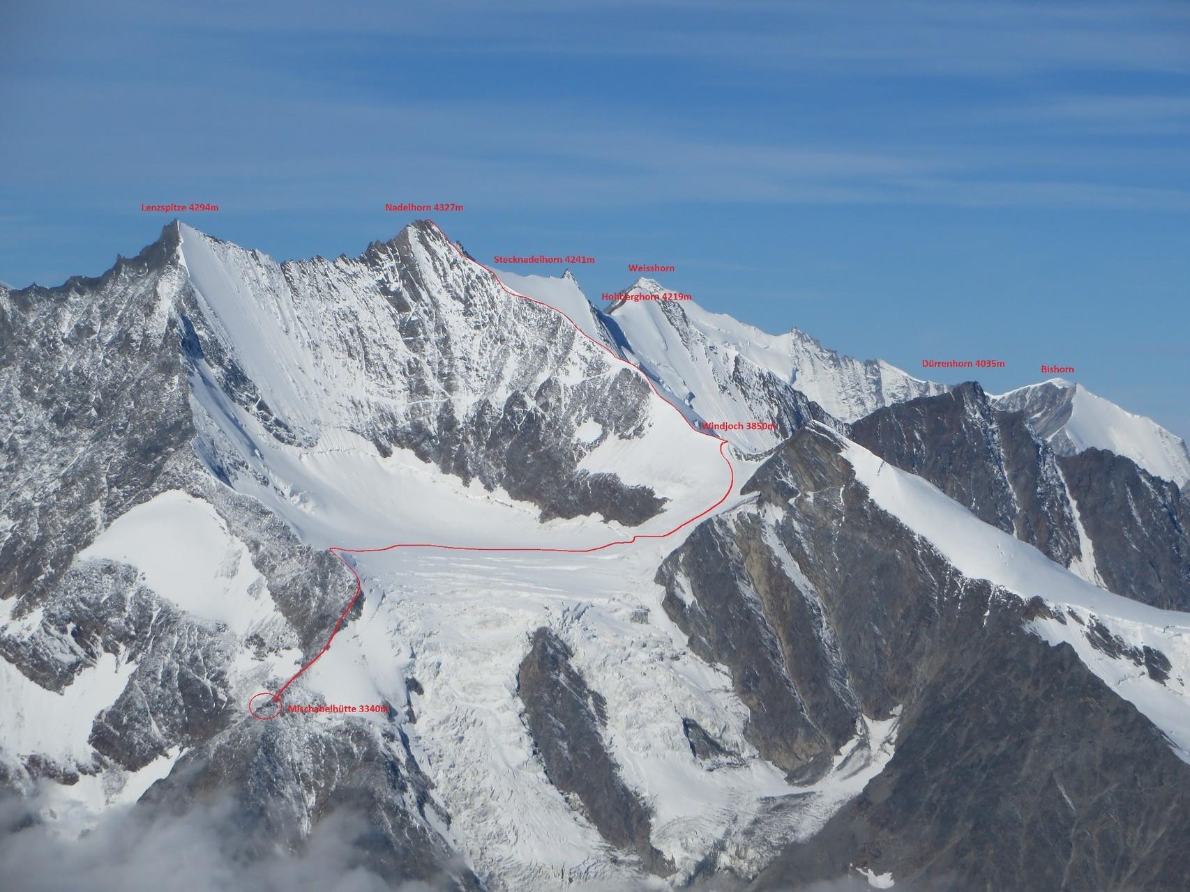 unsere Besteigungsroute fotografiert einige Tage später vom Gipfel des Weissmies