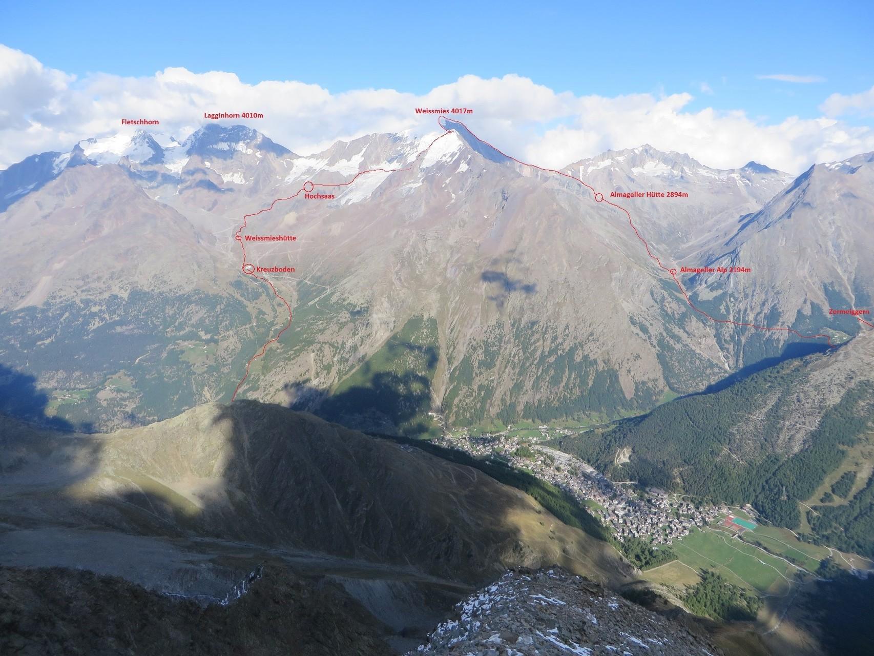 Blick rüber zur Weissmies-Route von der Mischabelhütte aus fotografiert