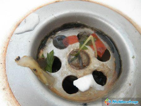 Évier bouché : Résidus d'assiette et nourriture dans le siphon