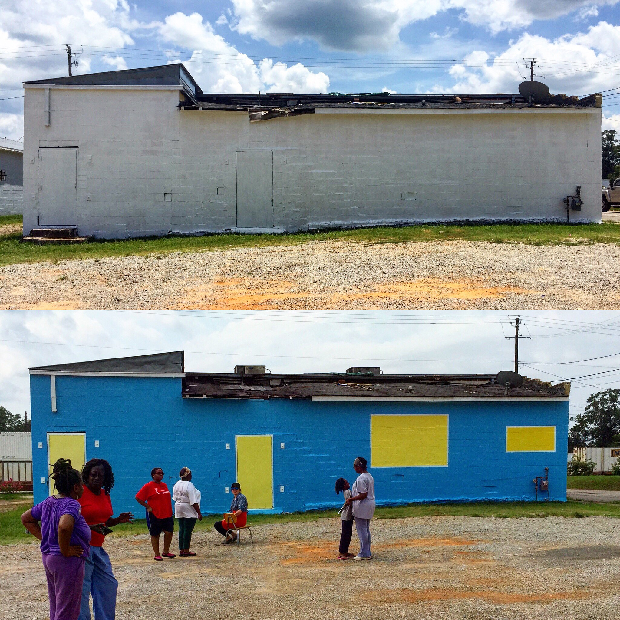 Another low-stakes proof of concept: back side of Tee's Lounge before (primed) and after, July 2015