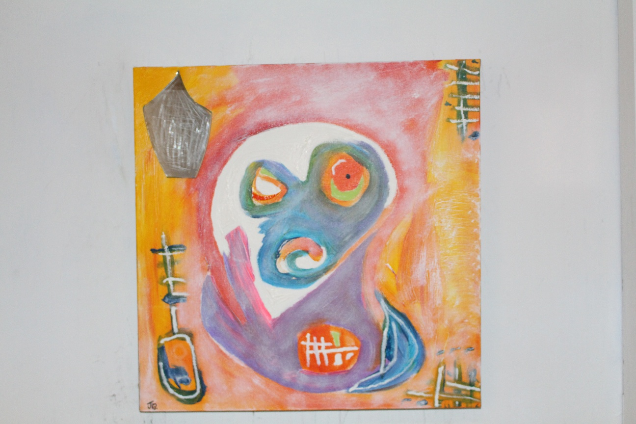48. ''Agitated young man.'' (50x50cm) mixed media with mirror