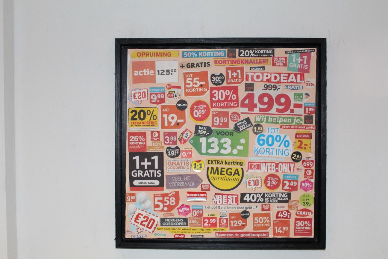 26. ''Aanbiedingen, folders./Good deals in dutch Brochures'' (50x50cm) collage& acrylic with wooden frame