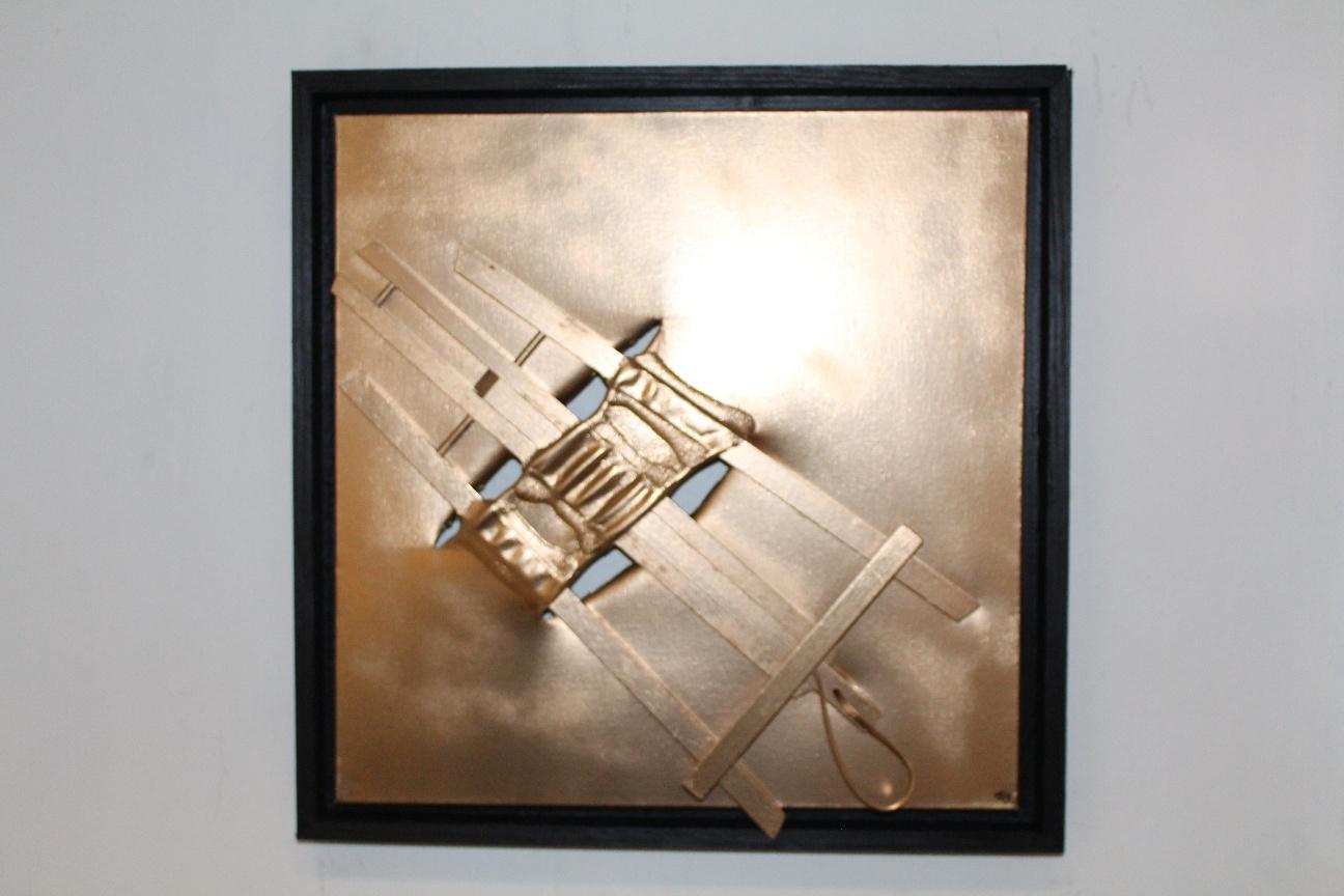 50. ''Golden Easel.'' (50x50cm) spraypaint with frame. 2019