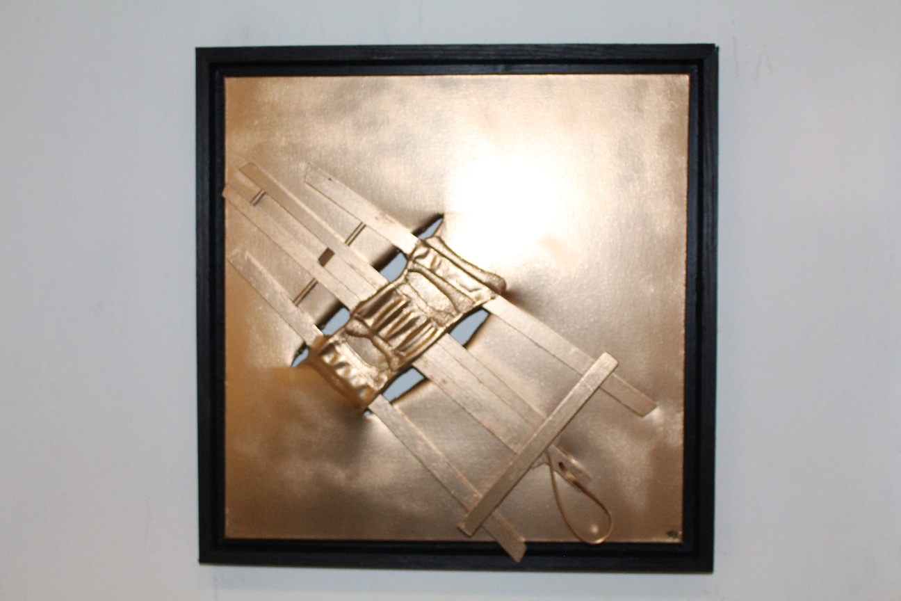 39. ''Golden Easel.'' (50x50cm) spraypaint with frame. 2019