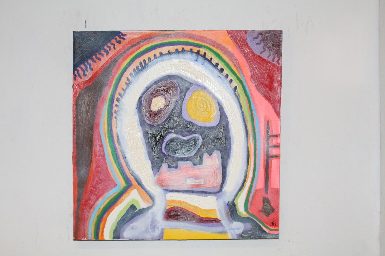 60. ''Anxious young man.'' (50x50cm) mixed media
