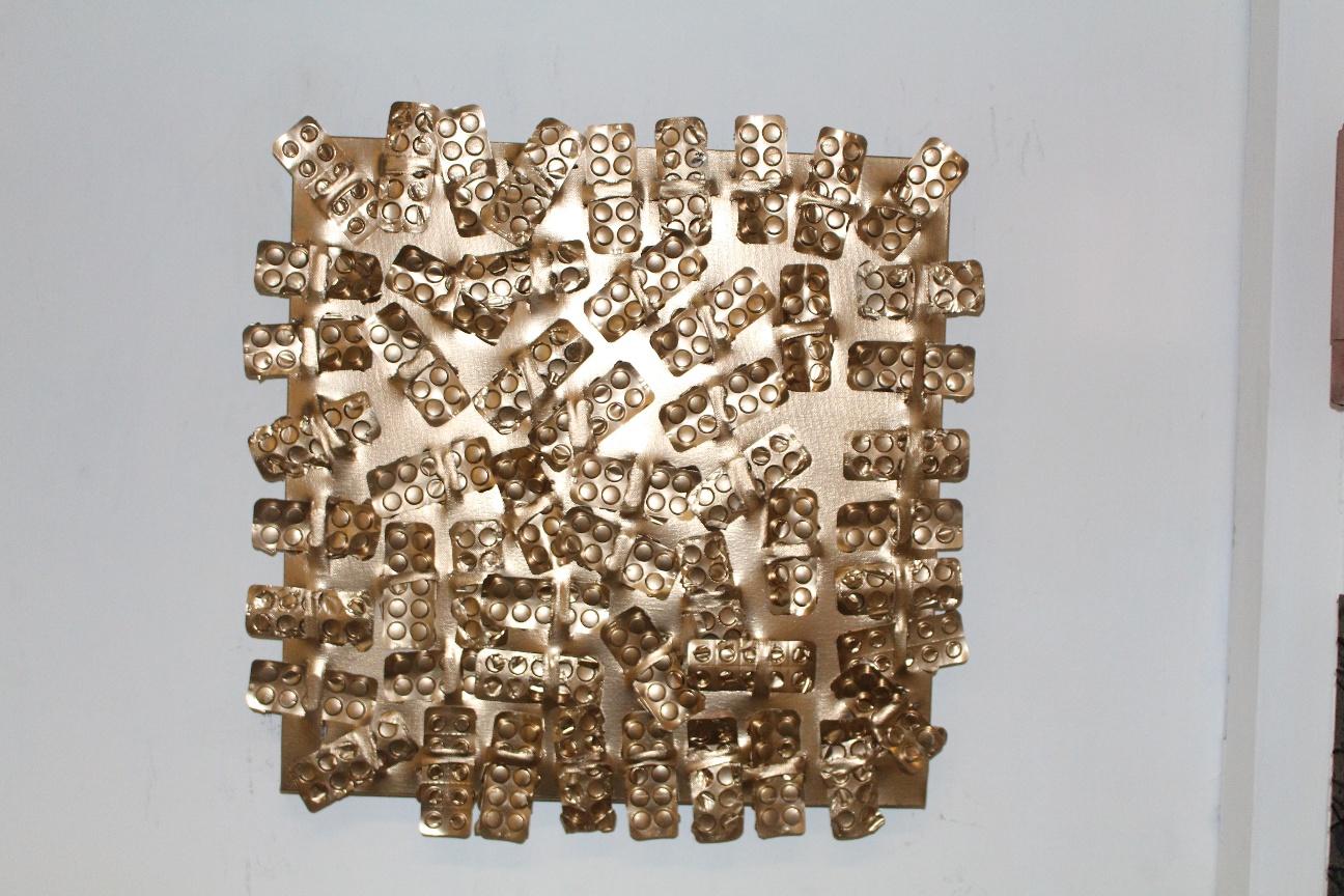 56. ''Golden Lithium intake.'' (50x50cm) Acrylic&spraypaint.