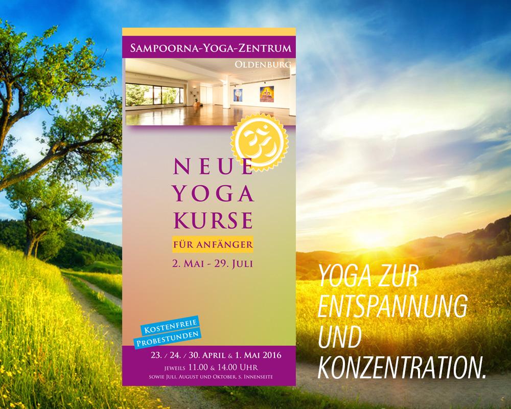 Broschüre für Yoga Kurse im Sampoorna Yoga Zentrum. Neuauflage vierteljährlich.