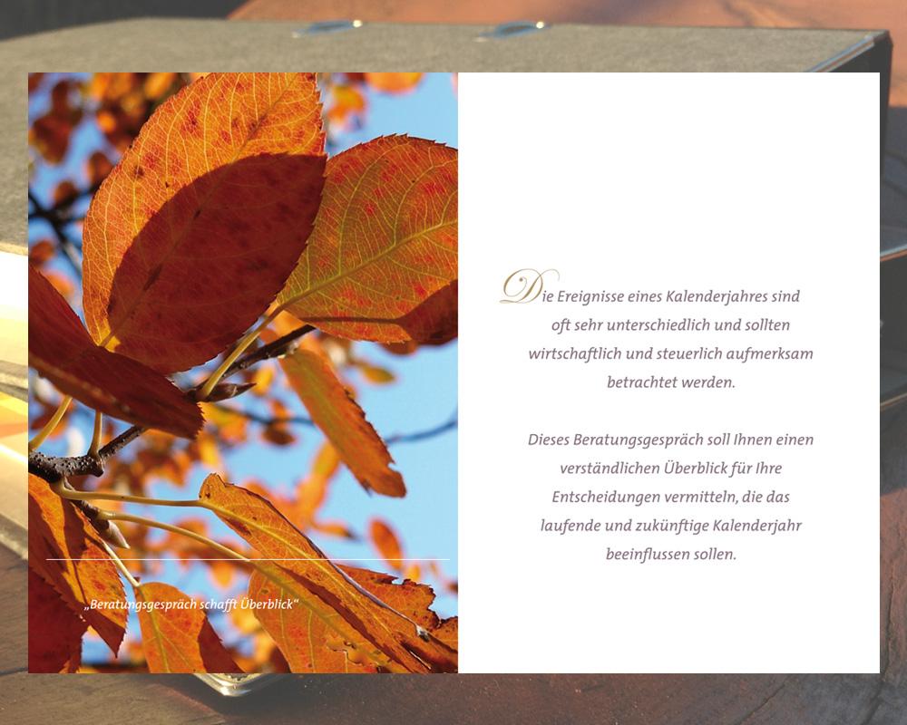 Image Broschüre. Doppelseite. Thema Beratungsgespräch, Steuern und Finanzen.