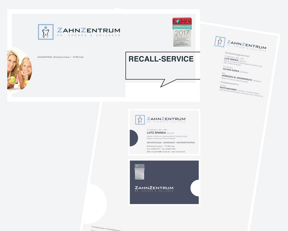 Geschäftsausstattung mit Mappen, Briefbögen, Visitenkarten, Mitteilungen.