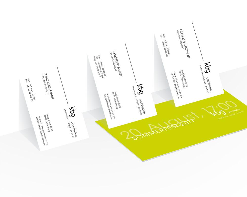 Corporate Design der Geschäftsausstattung kbg architekten.