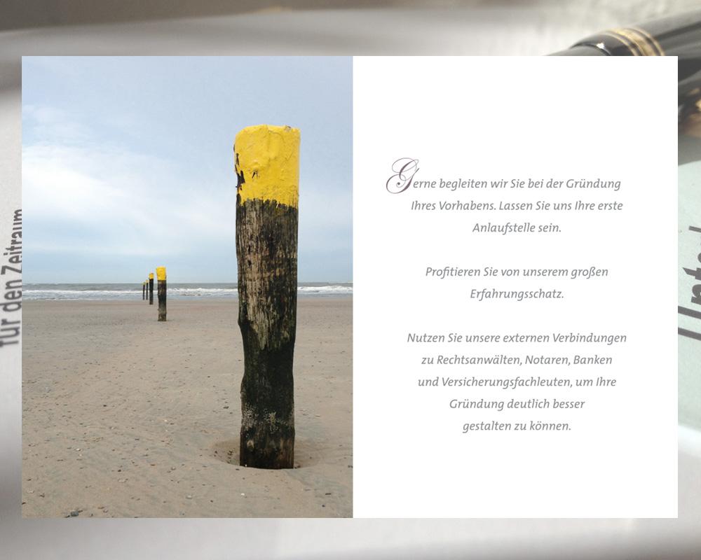 Image Broschüre. Doppelseite. Thema Existenzgründung.