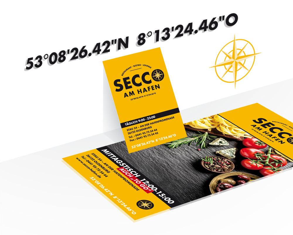 SECCO Geschäftsausstattung mit Produkt Flyer, Visitenkarten.