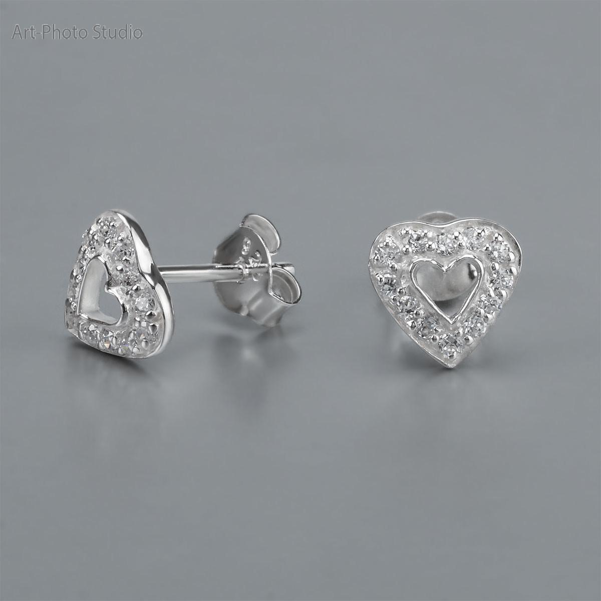 фото ювелирных изделий - серьги-гвоздики из серебра