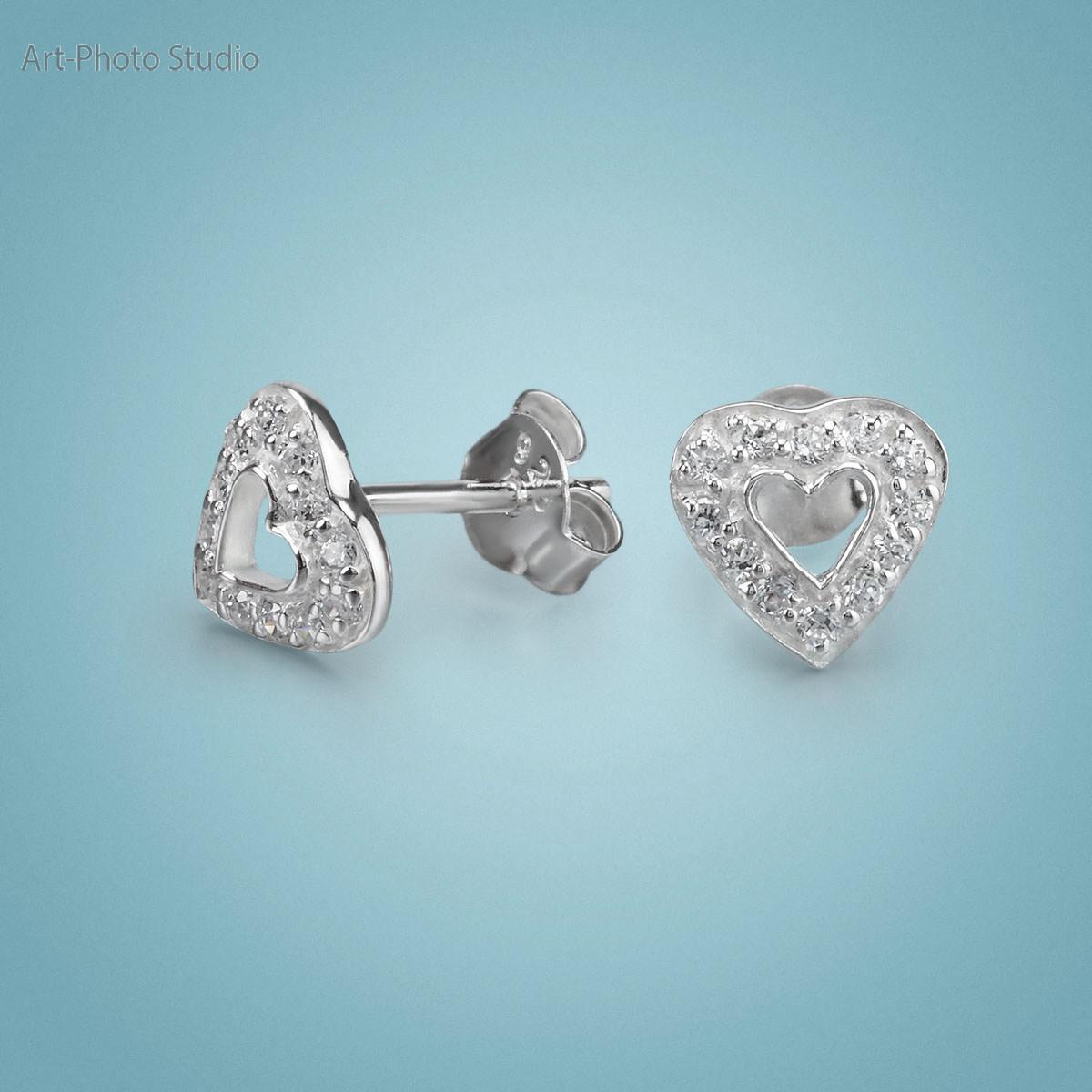 фото ювелирных украшений - серьги-гвоздики из серебра