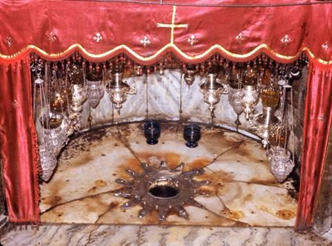 L'étoile dorée marquant le lieu de la naissance du Christ.