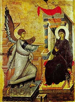 The Annunciation from Ohrid, one of the most admired icons of the Paleologan Mannerism from the Church of St. Climent.