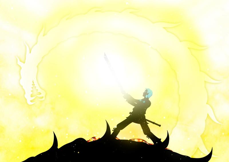 japanese_myth_legend_kojiki_影絵_影絵アニメ_古事記_草薙剣を手にするスサノオ_sadakoshiramizu_siramizusadako_しらみずさだこ_影絵作家