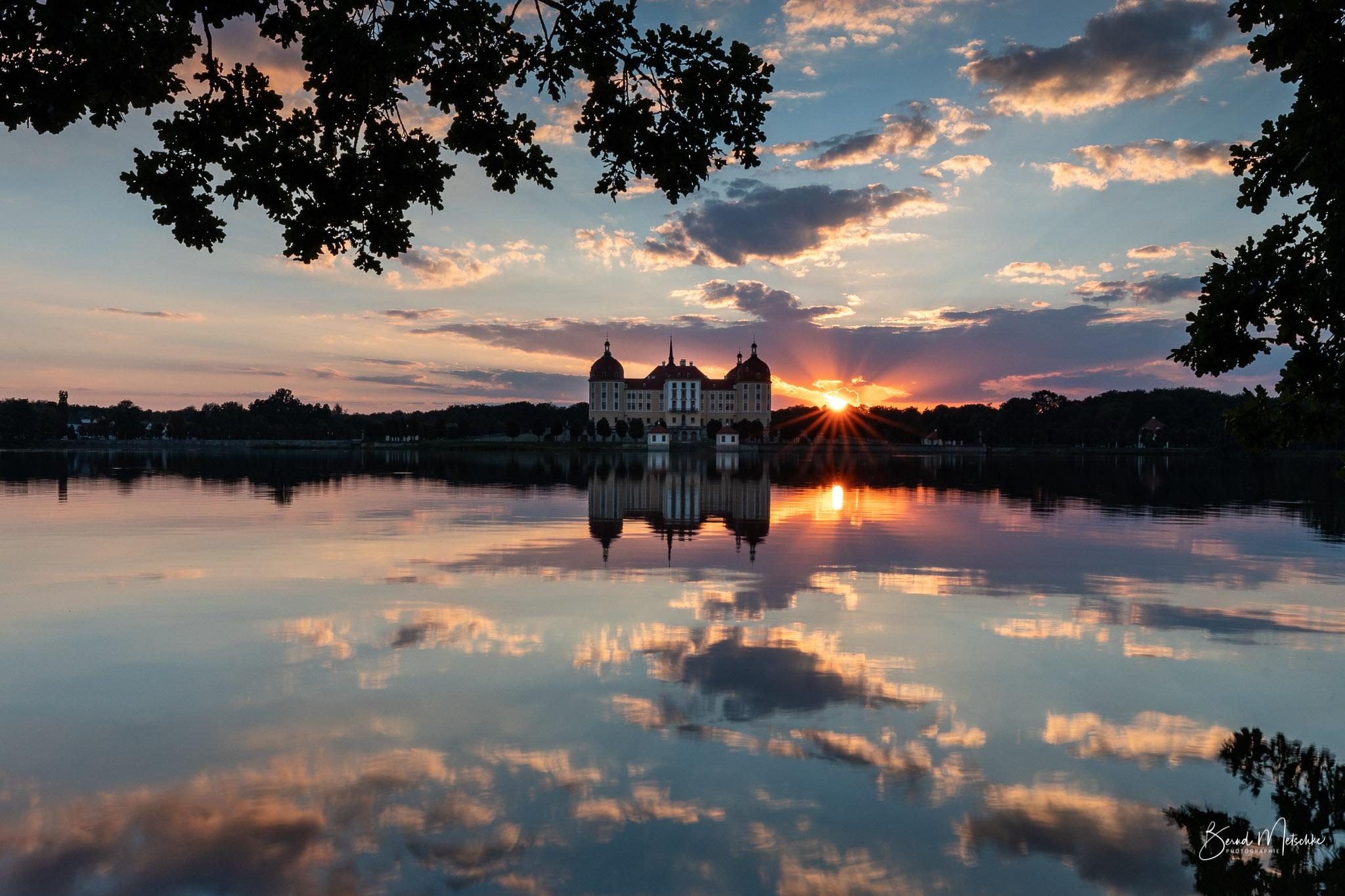 Sonnenuntergang am Schloss Moritzburg